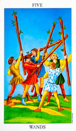 Five of Wands Tarot Meaning - Scarlet Foundry Tarot